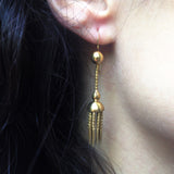 Victorian Gold Tassel Dagger Earrings