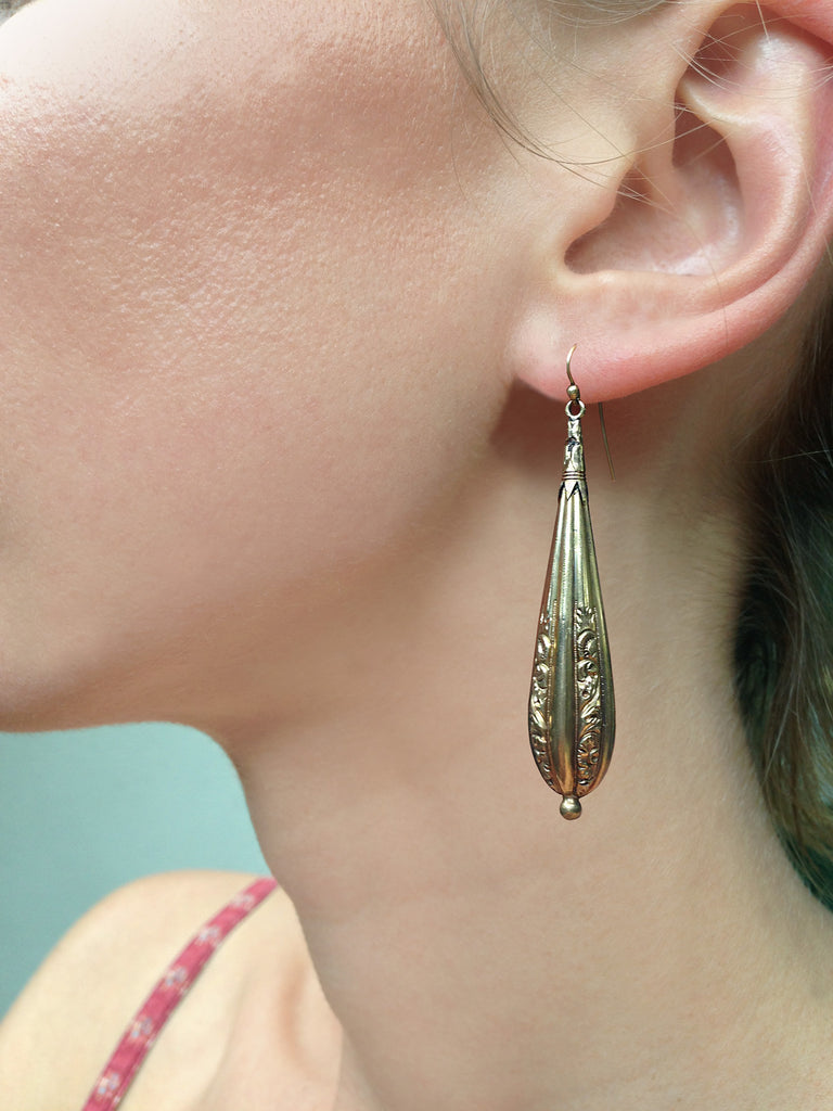 Early Victorian Gold Pinchbeck Torpedo Earrings