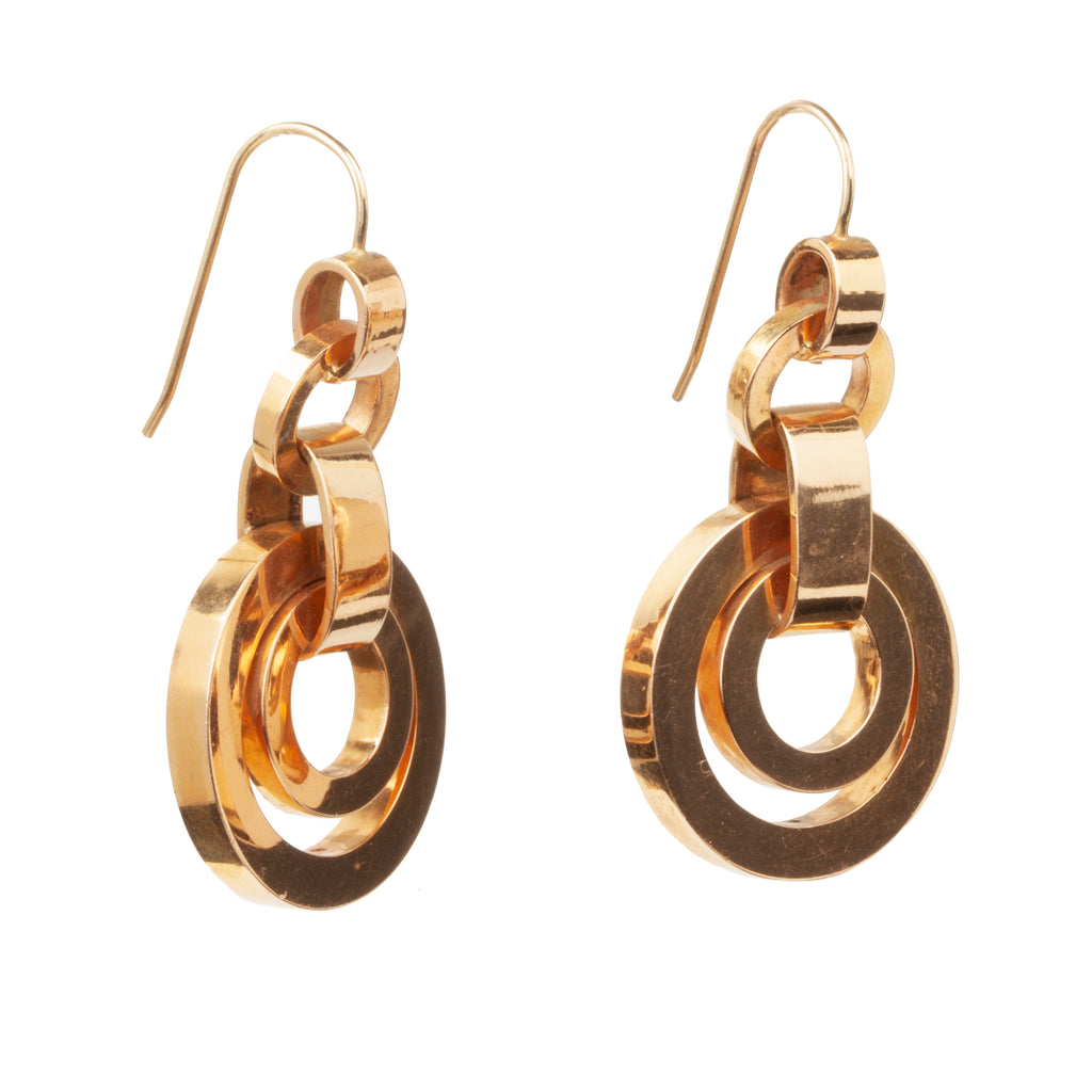 Victorian Era Rose Gold Circle Drop Earrings