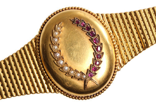 Victorian Locket Bracelet with Pearl & Ruby Wreath