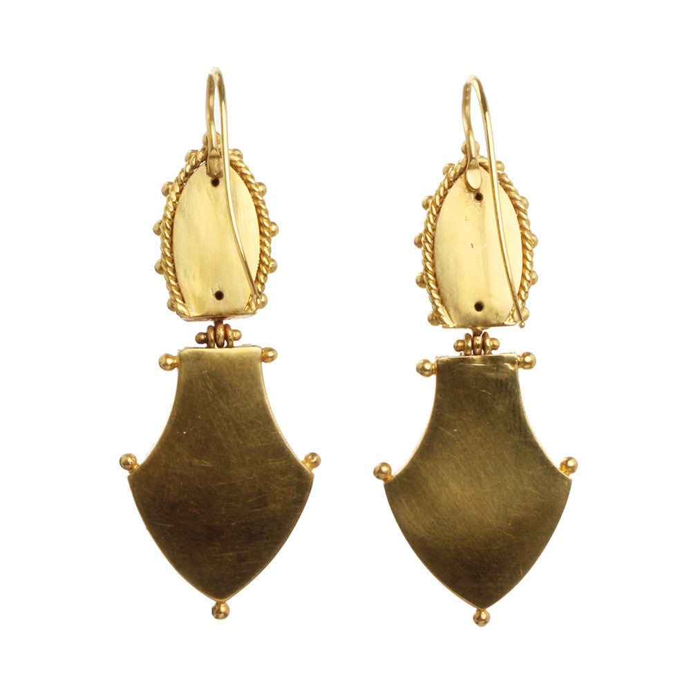 VICTORIAN ERA ETRUSCAN REVIVAL Gold EARRINGS