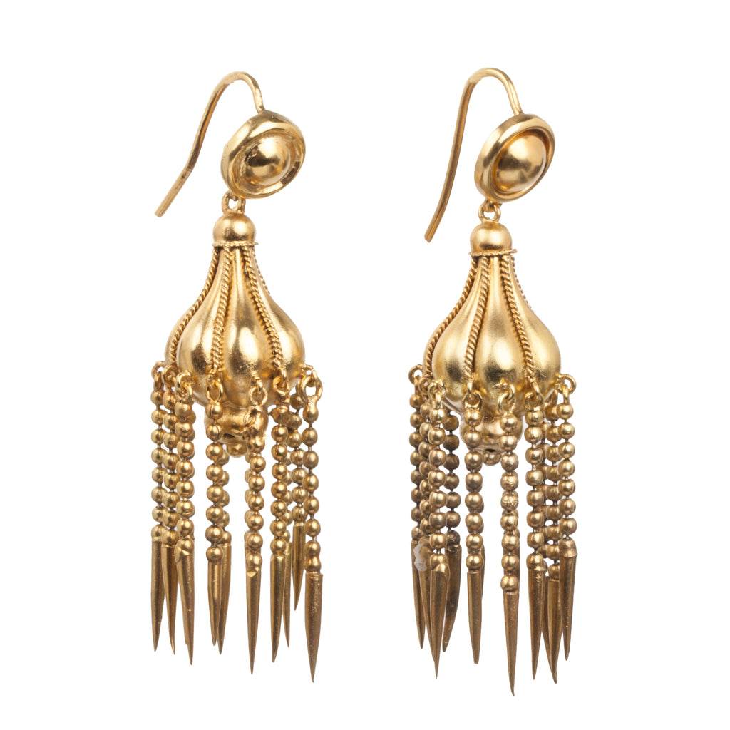 Victorian Era Gold Tassel Earrings