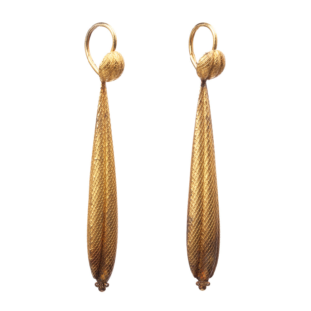 Georgian Gold Torpedo Earrings