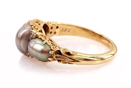 Victorian Natural Pearl and Diamond Ring