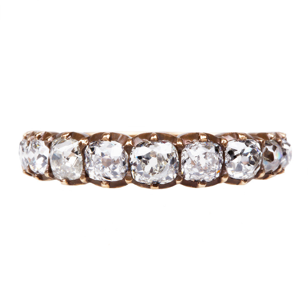 Signature Cutaway Old Mine Cut Diamond Half Hoop Band