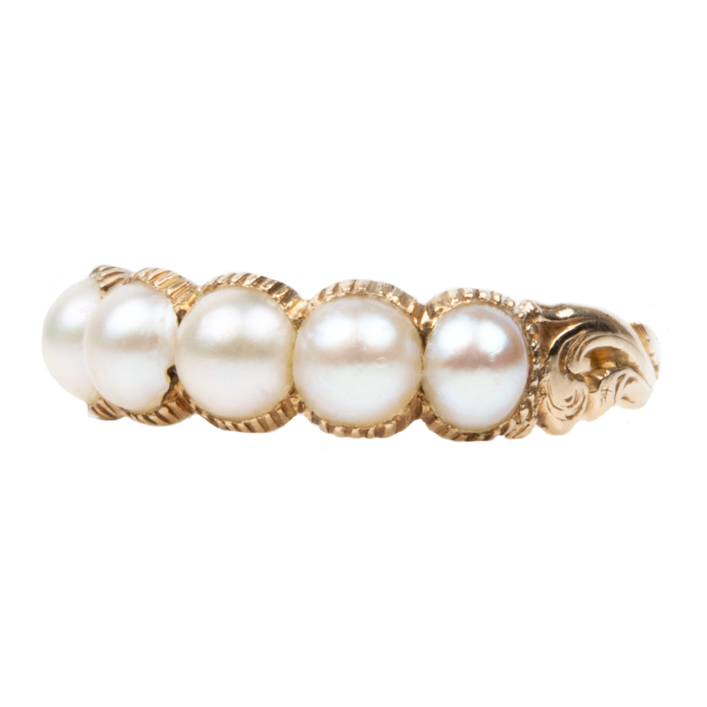 Early Victorian Pearl Half Hoop Band in 18k Gold