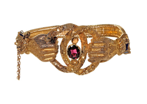 Victorian Clasped Hands Gold Bracelet