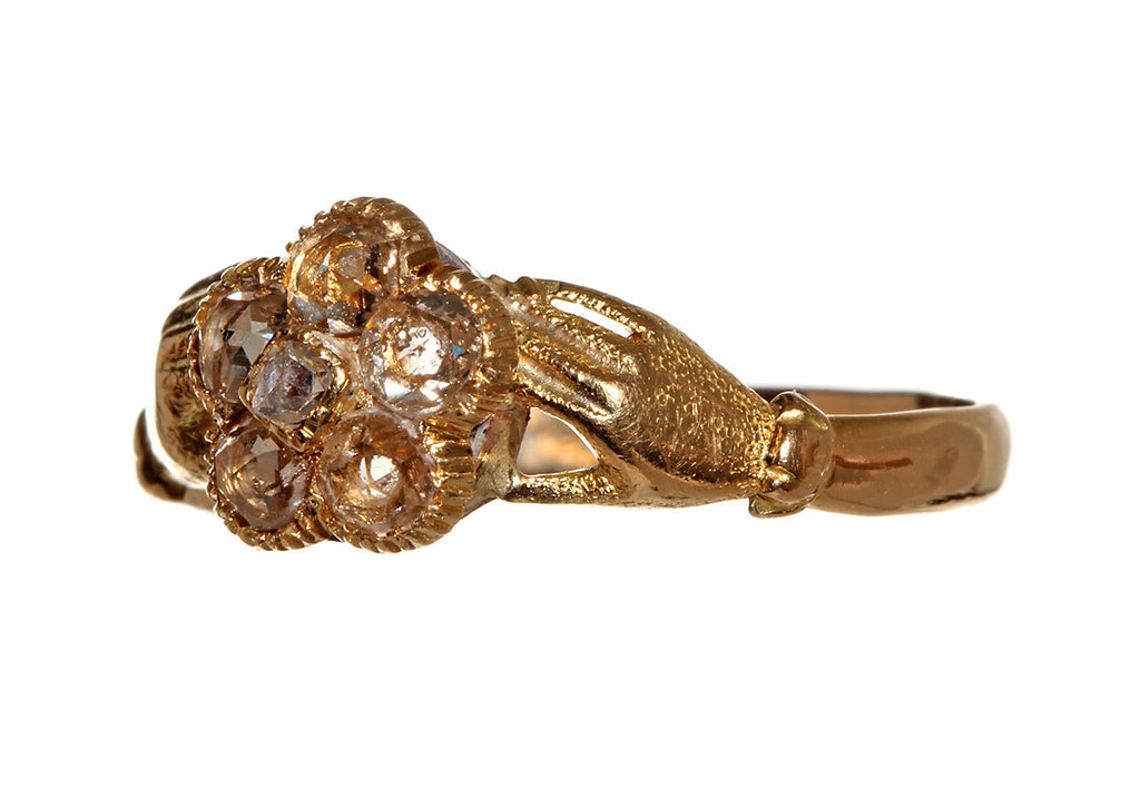 Georgian Rose Cut Diamond Clasped Hands Ring