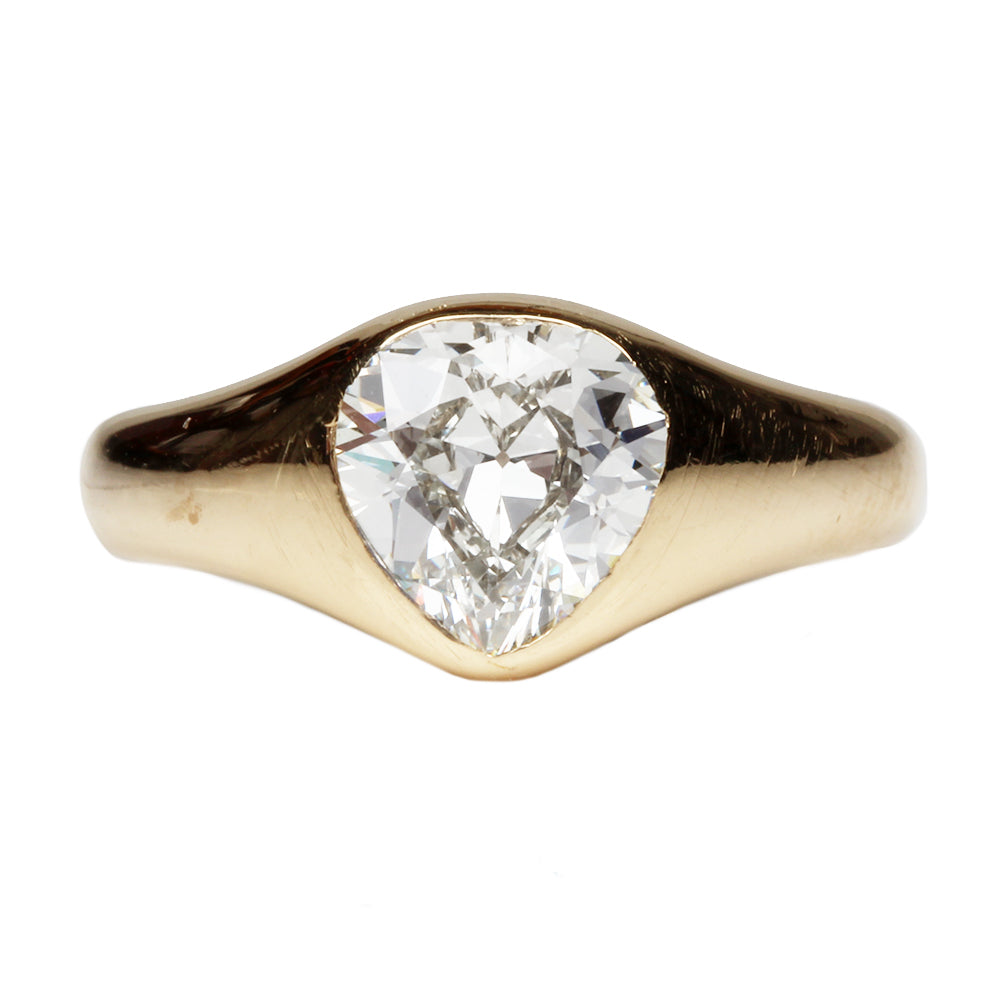 Late 19th Century 1.60 Carat Pear Shaped Diamond Ring