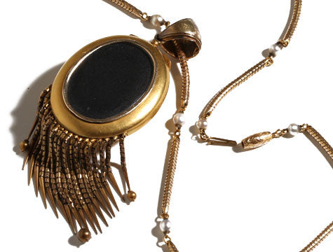 High Victorian Gold Fringe Locket