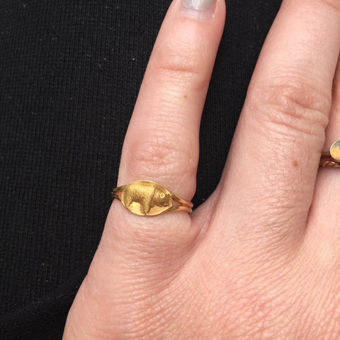 Antique Gold Baby Bear Ring