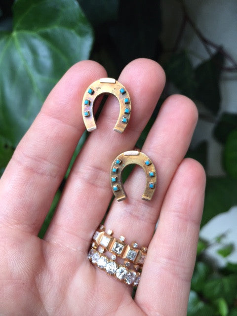 Victorian Era Good Luck Horseshoe Earrings with Turquoise