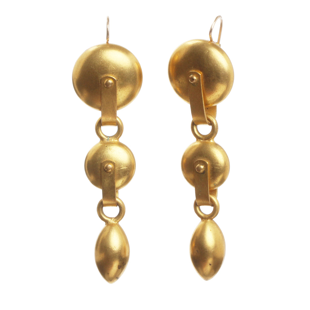 19th Century Gilded Pulley Earrings
