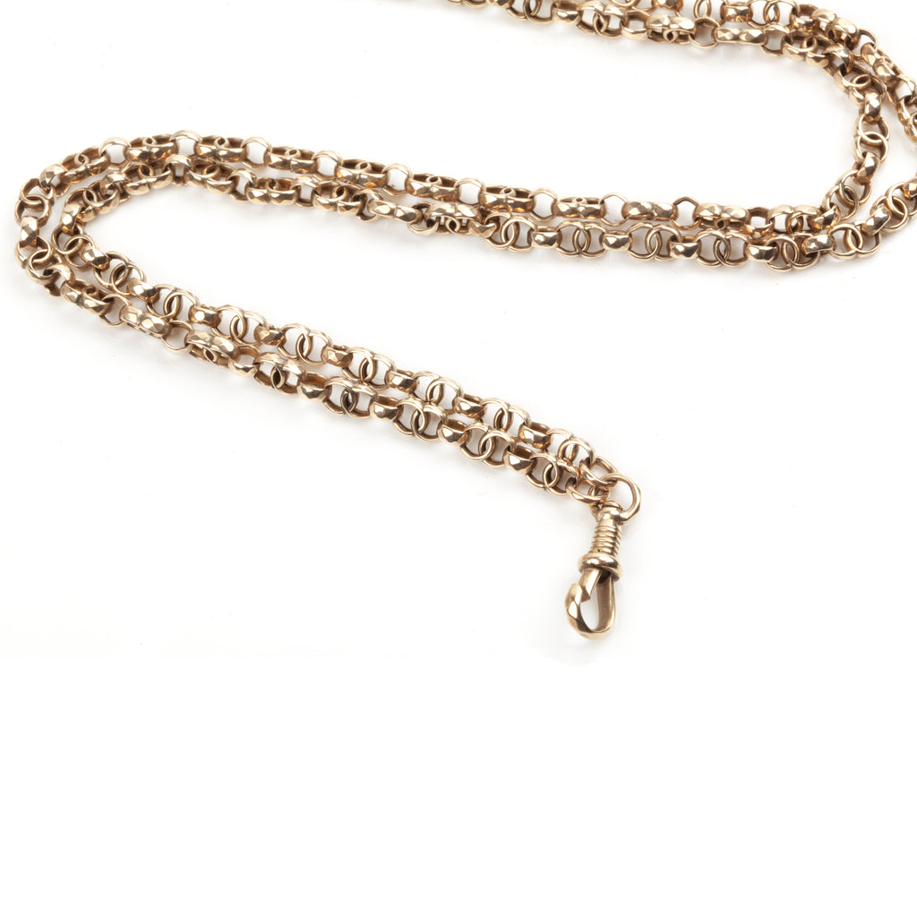 Victorian Era Long Rose Gold Chain with Infinity Links