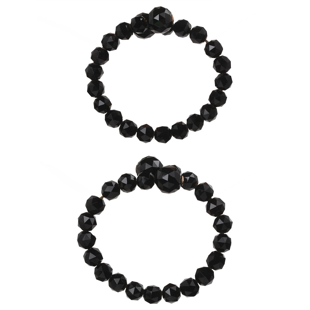 Victorian Matched Set Onyx Wrap Bracelets