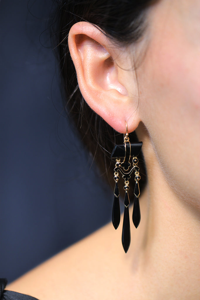 19th Century Onyx Drop Earrings