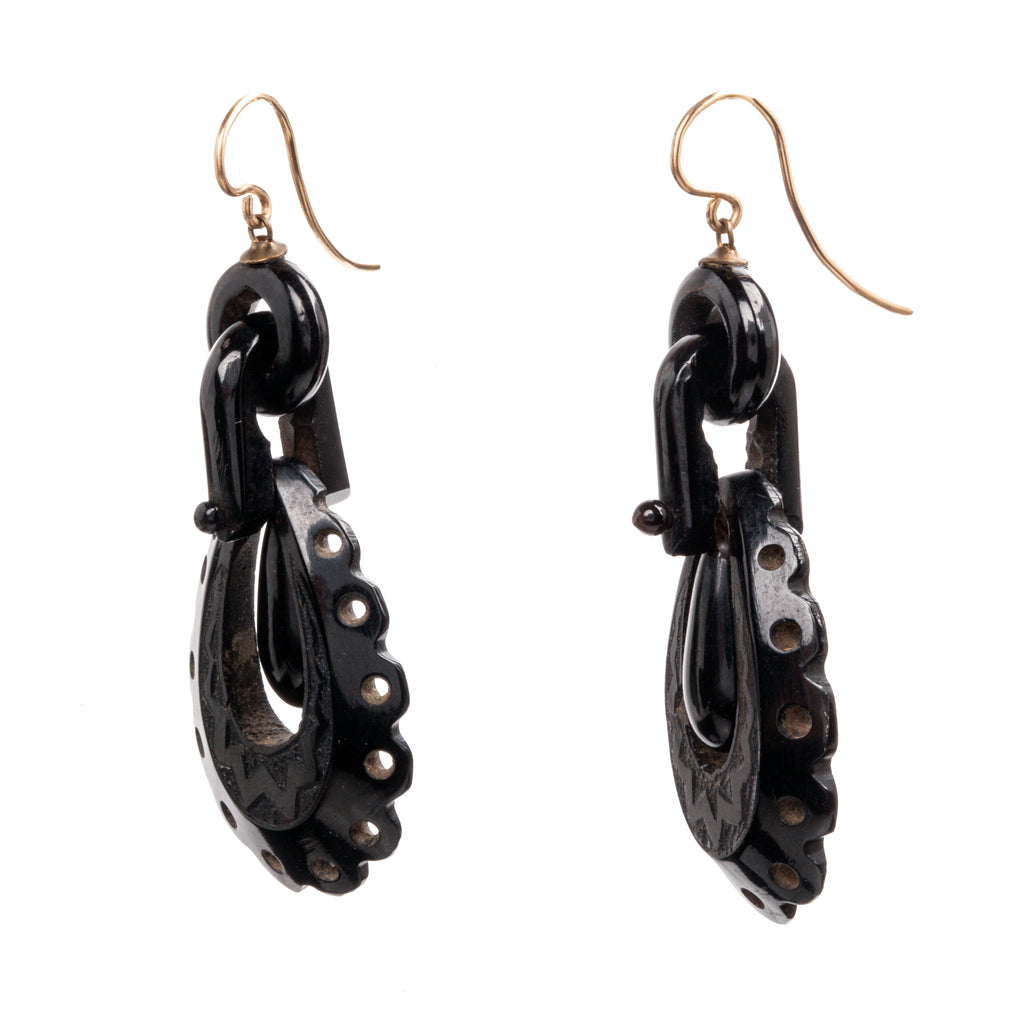 Victorian Era Carved Whitby Jet Earrings