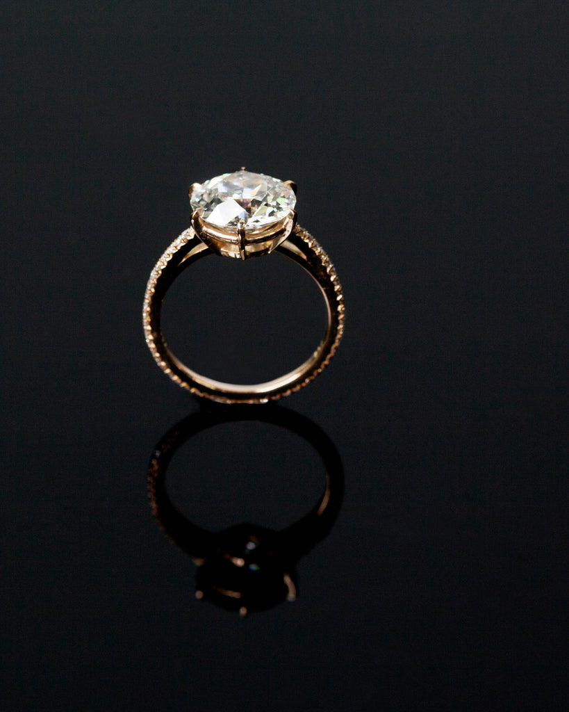 Custom 3.88 Transitional European Cut Diamond Ring
