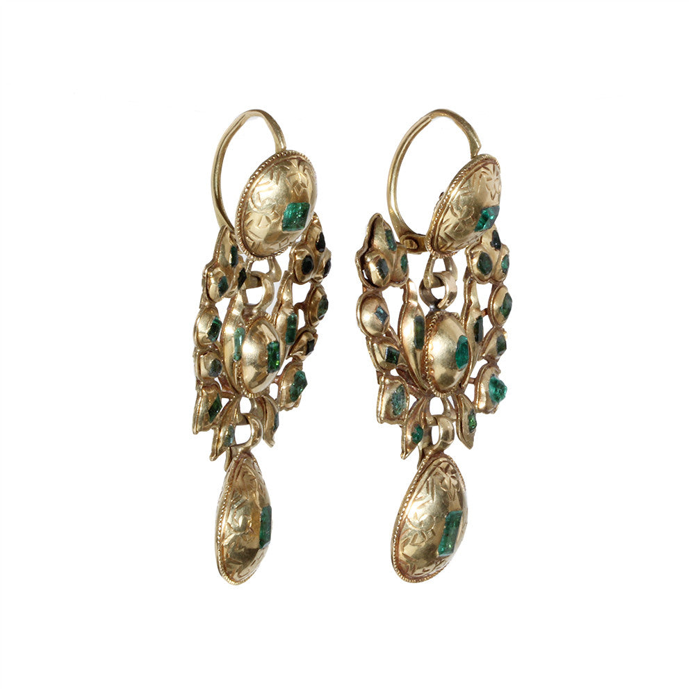 18th Century Iberian Gold and Emerald Earrings