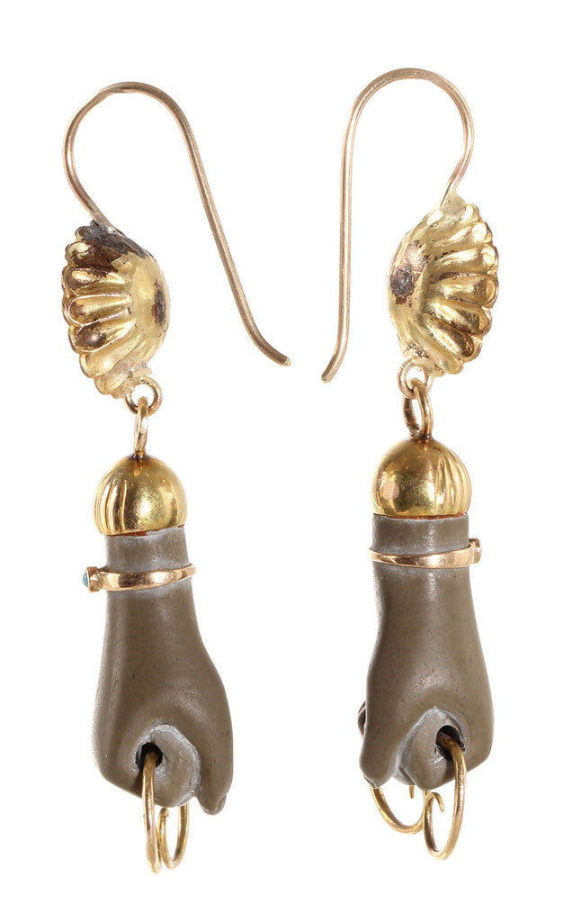 Victorian Era Carved Lava Hand Earrings