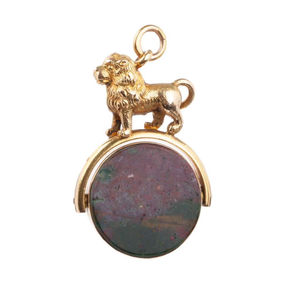 VICTORIAN ERA GOLD LION AND CARNELIAN FOB