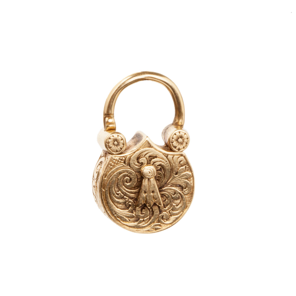 Victorian Gold Lock Love Token Pendant