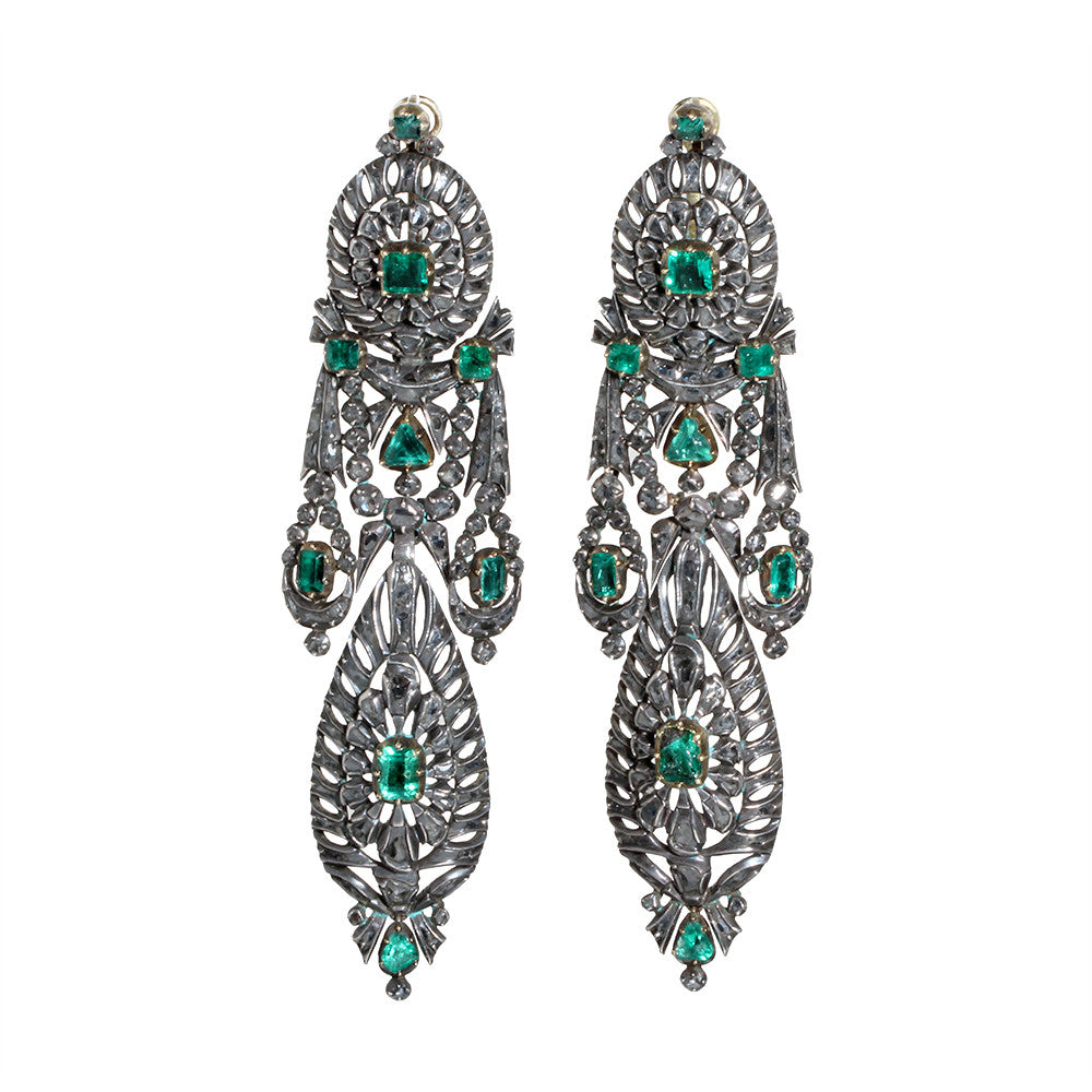 Spanish Diamond And Emerald Earrings