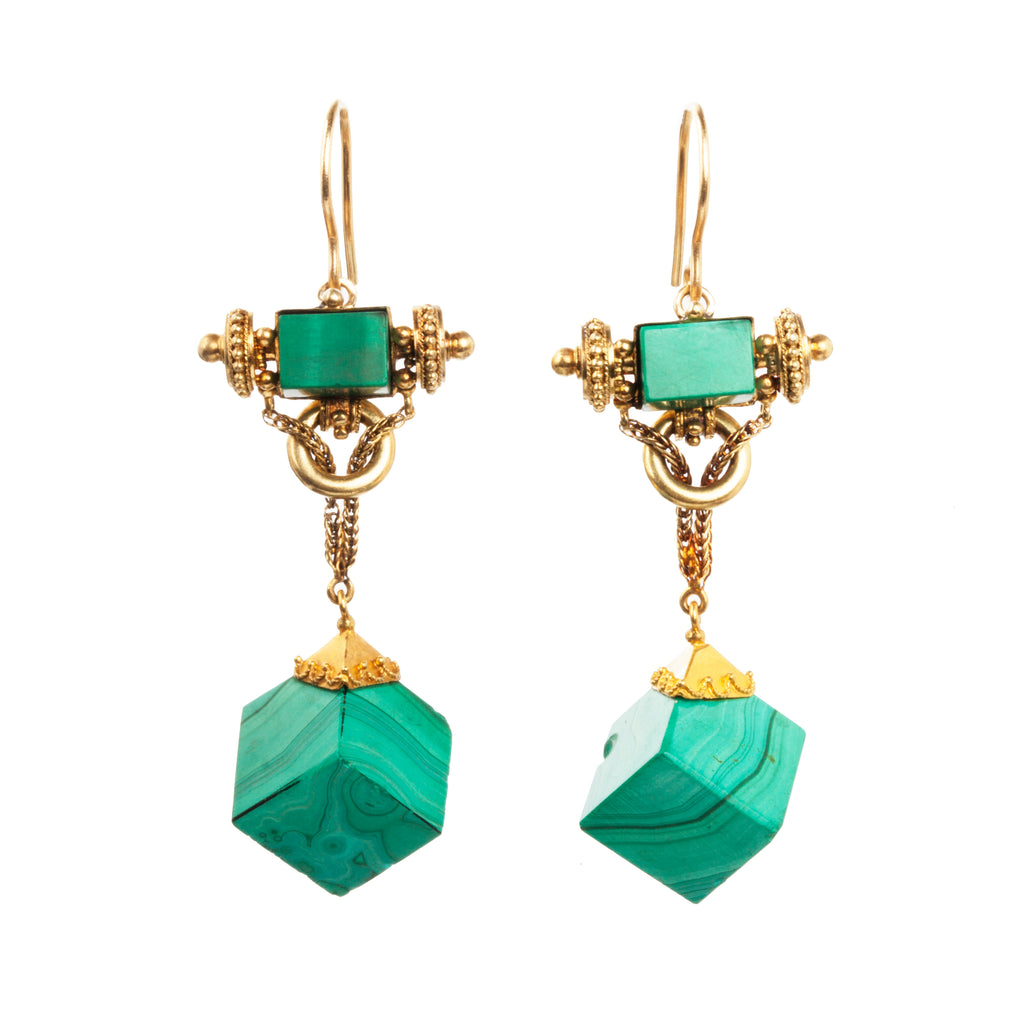 Victorian Era Malachite Earrings