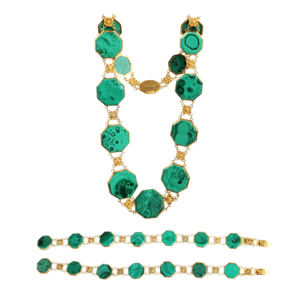 Georgian Era Gold Cannetille Malachite Convertible Necklace and Bracelet Set