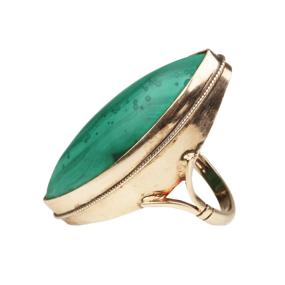 Victorian Era Malachite navette ring