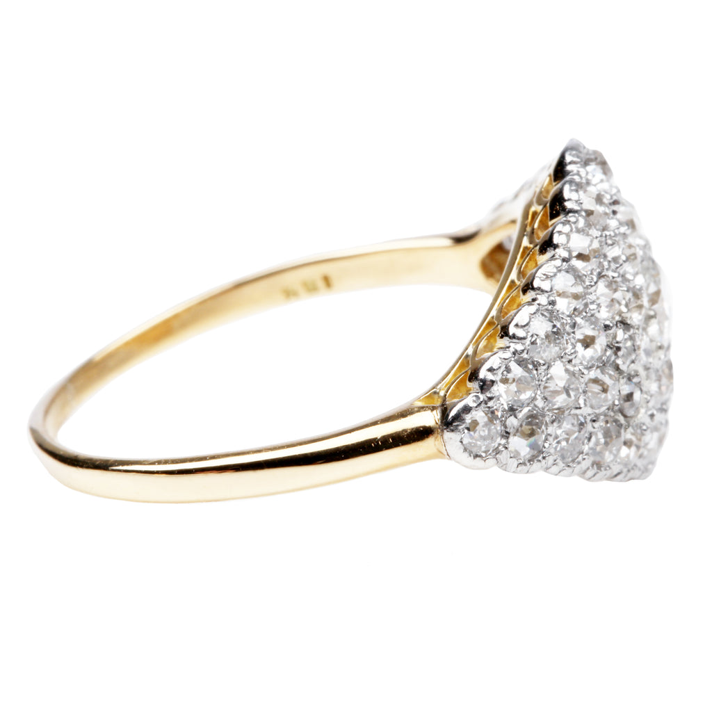 Edwardian Era Platinum and Gold Diamond Cluster Ring