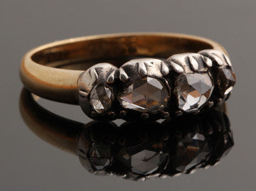 19th Century 4-Stone Rose Cut Diamond Ring in Silver & Gold