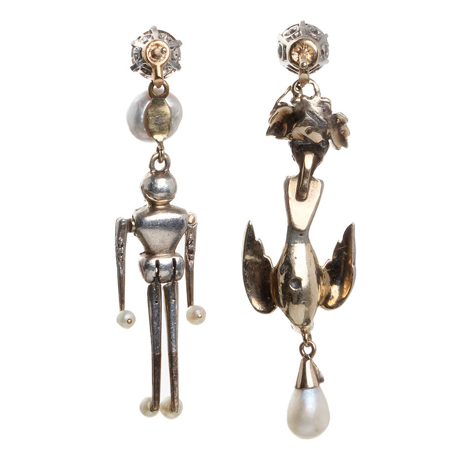 Victorian Era Diamond Figural Earrings