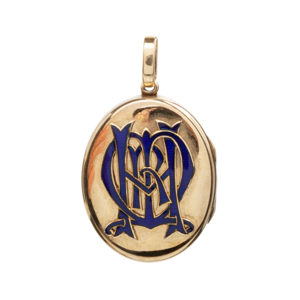 Victorian Era Enamel Monogram Locket