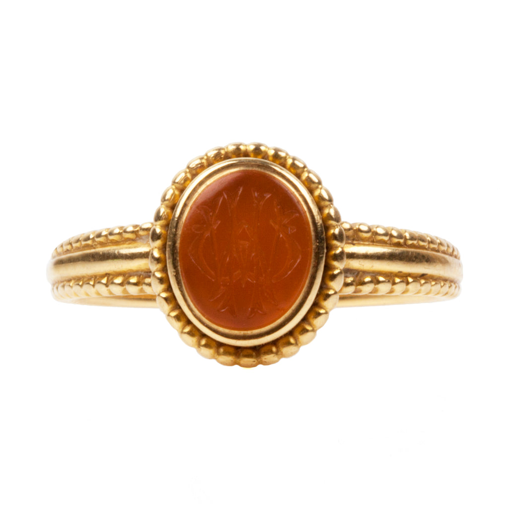 Georgian Era Carved Carnelian Signet Ring