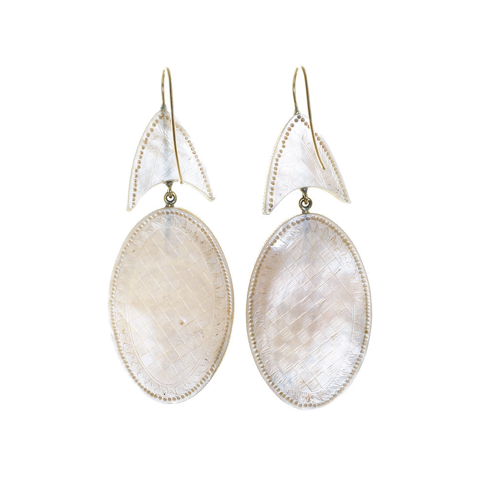19th Century Carved Mother of Pearl Earrings