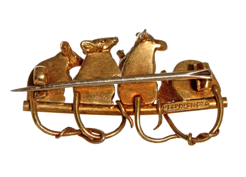 19th Century Boxed Mouse Brooch by Child and Child