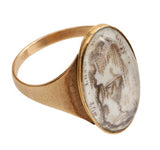 Georgian Era Sepia Painted Weeping Willow Mourning Ring