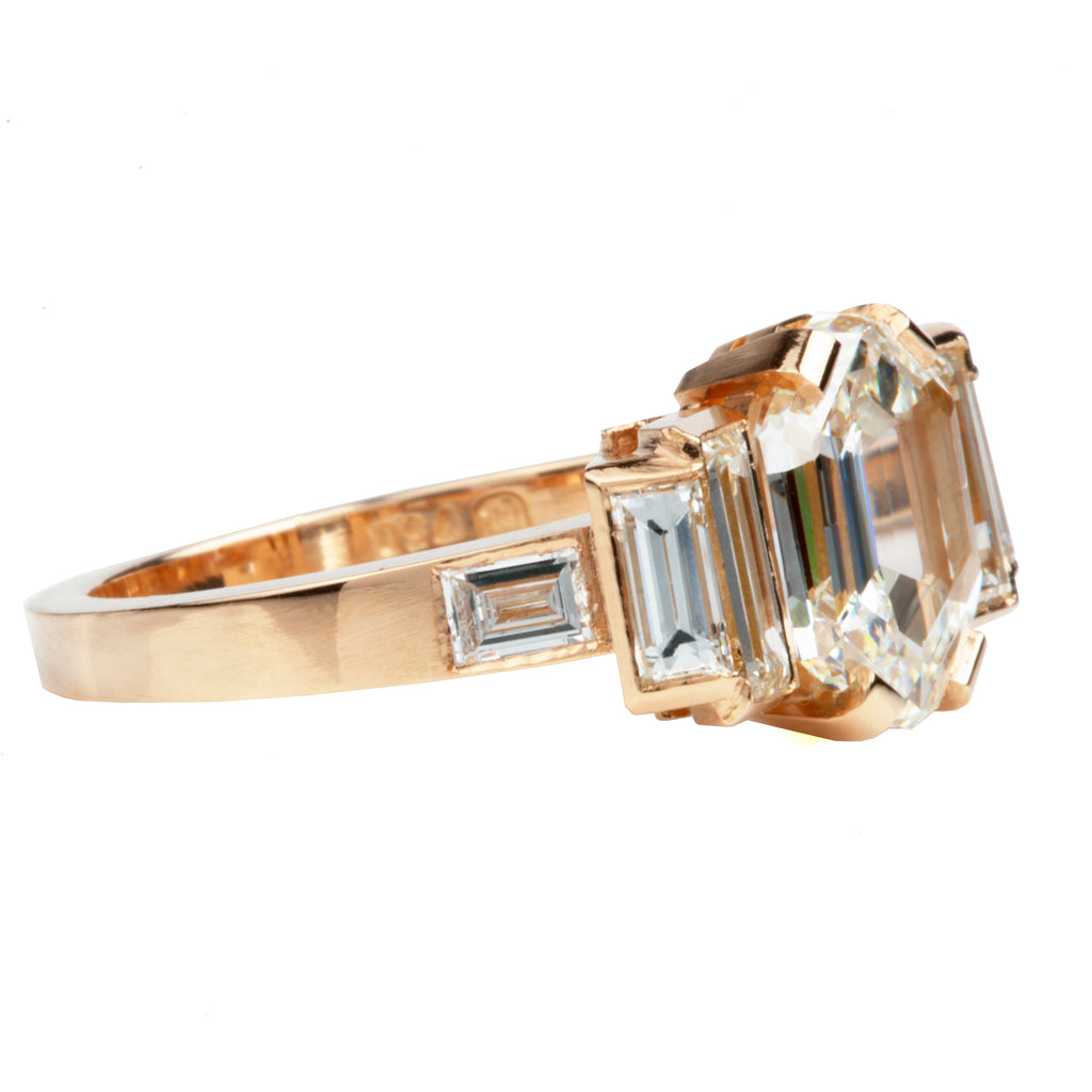 Pitched Baguette and Hexagonal Cut Diamond Ring