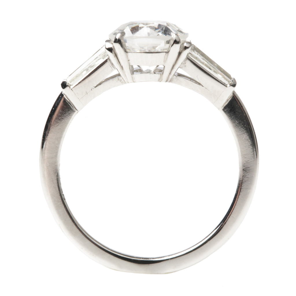 Tapered Baguette Three Stone Old European Cut Diamond Ring