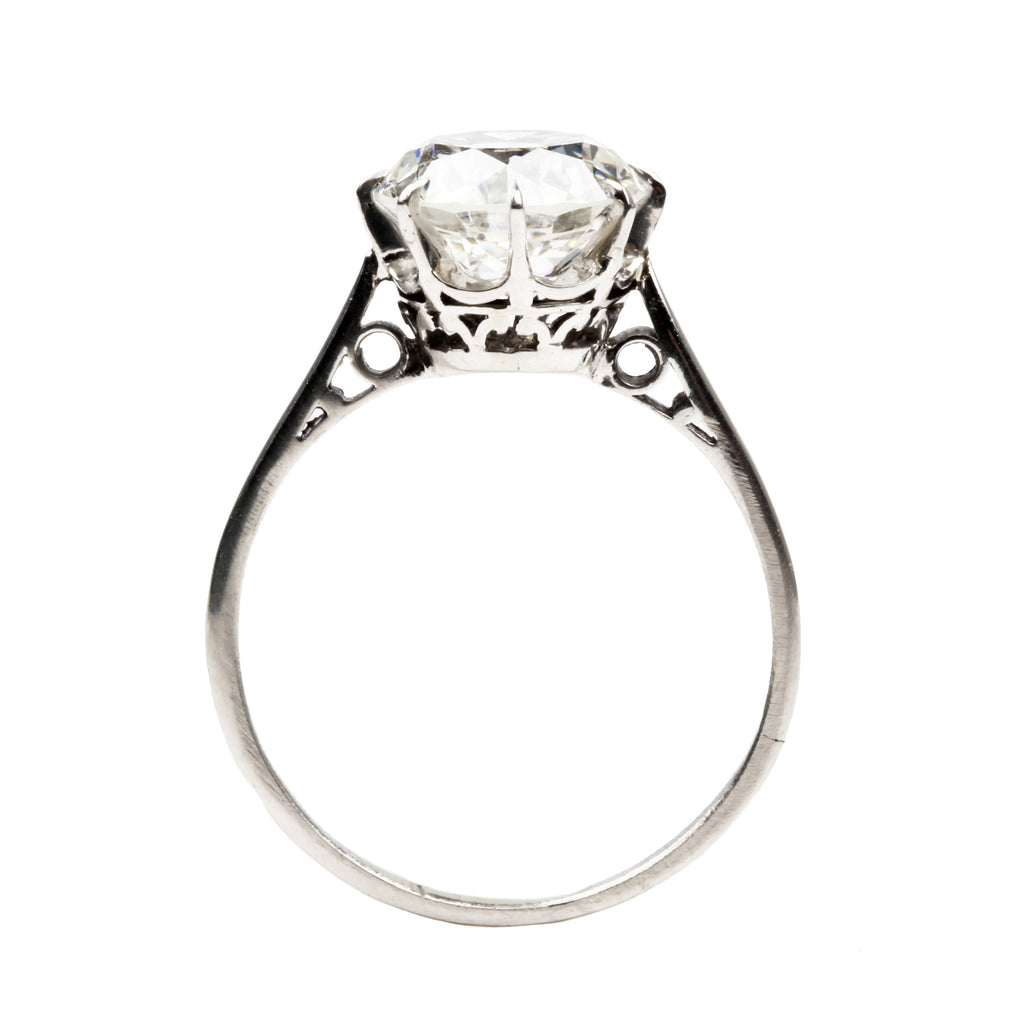 Early 20th Century 2.69 Carat Transitional Round Cut Diamond Ring