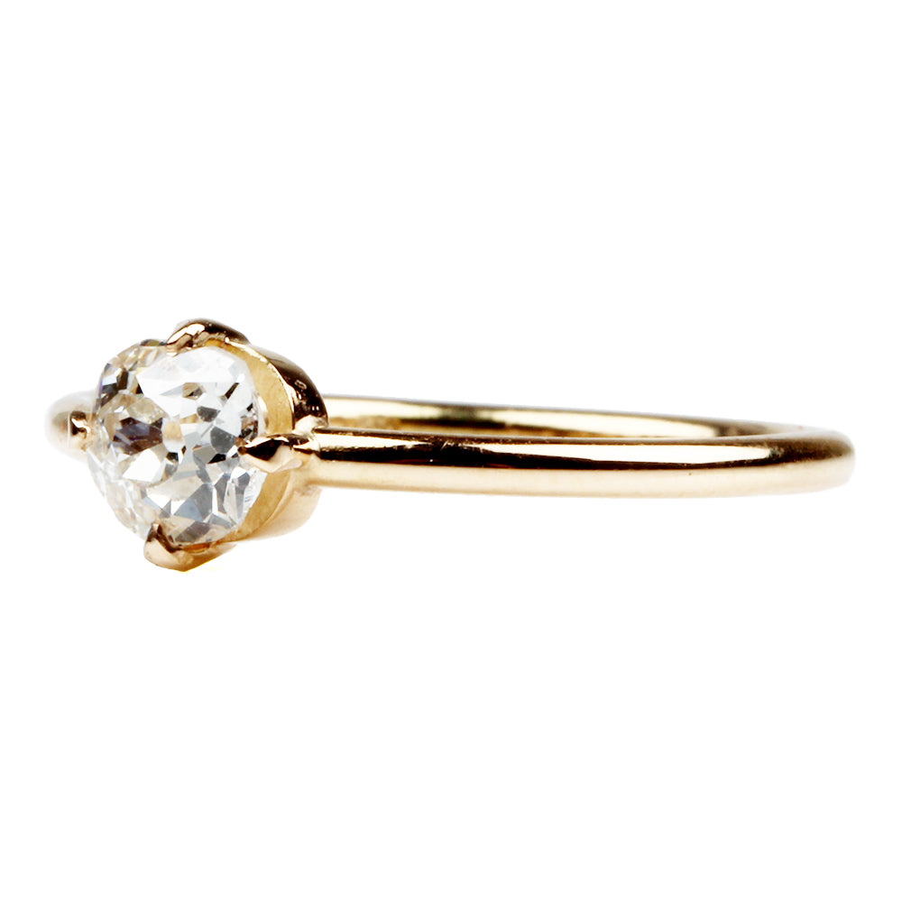 Low Profile Four Prong Solitaire Ring