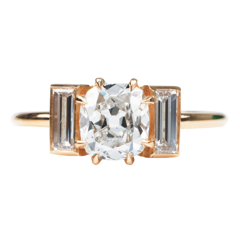 Three Stone Vertical Baguette and Old Mine Cut Diamond Ring