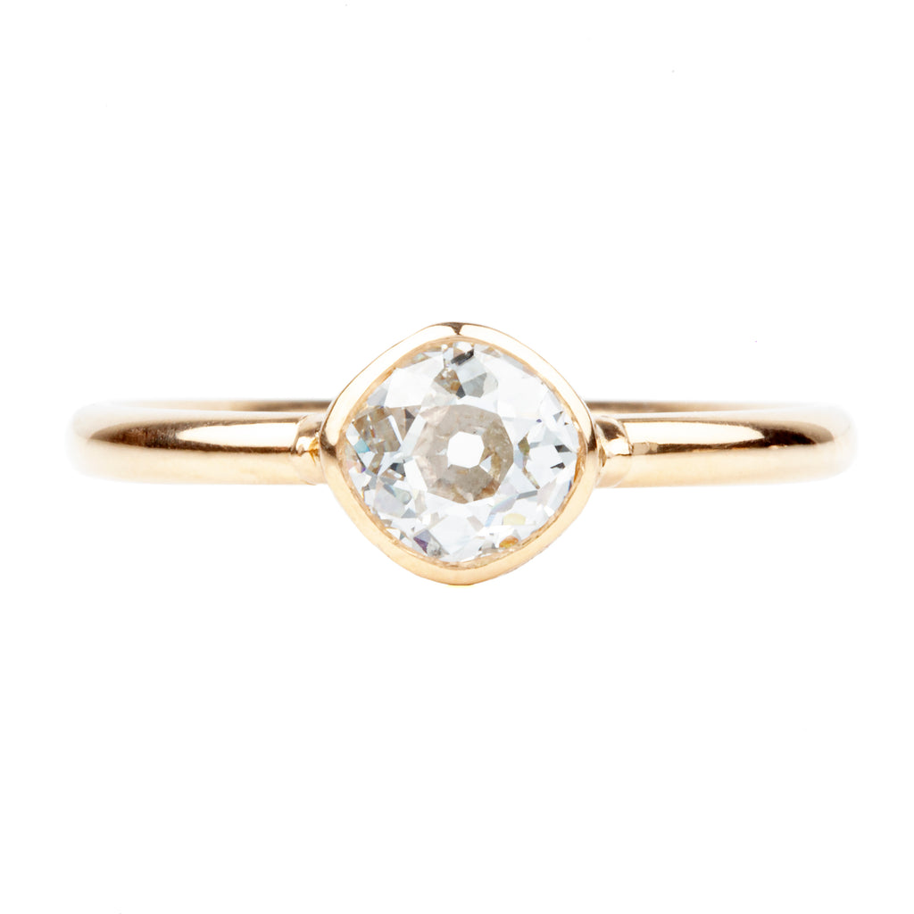Old Mine Cut Diamond Bezel Set Solitaire Ring