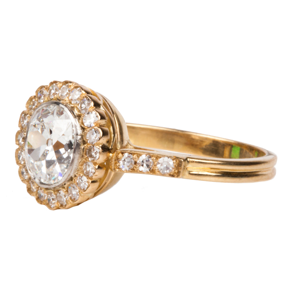 Old Mine Cut Diamond Cluster Ring in Gold