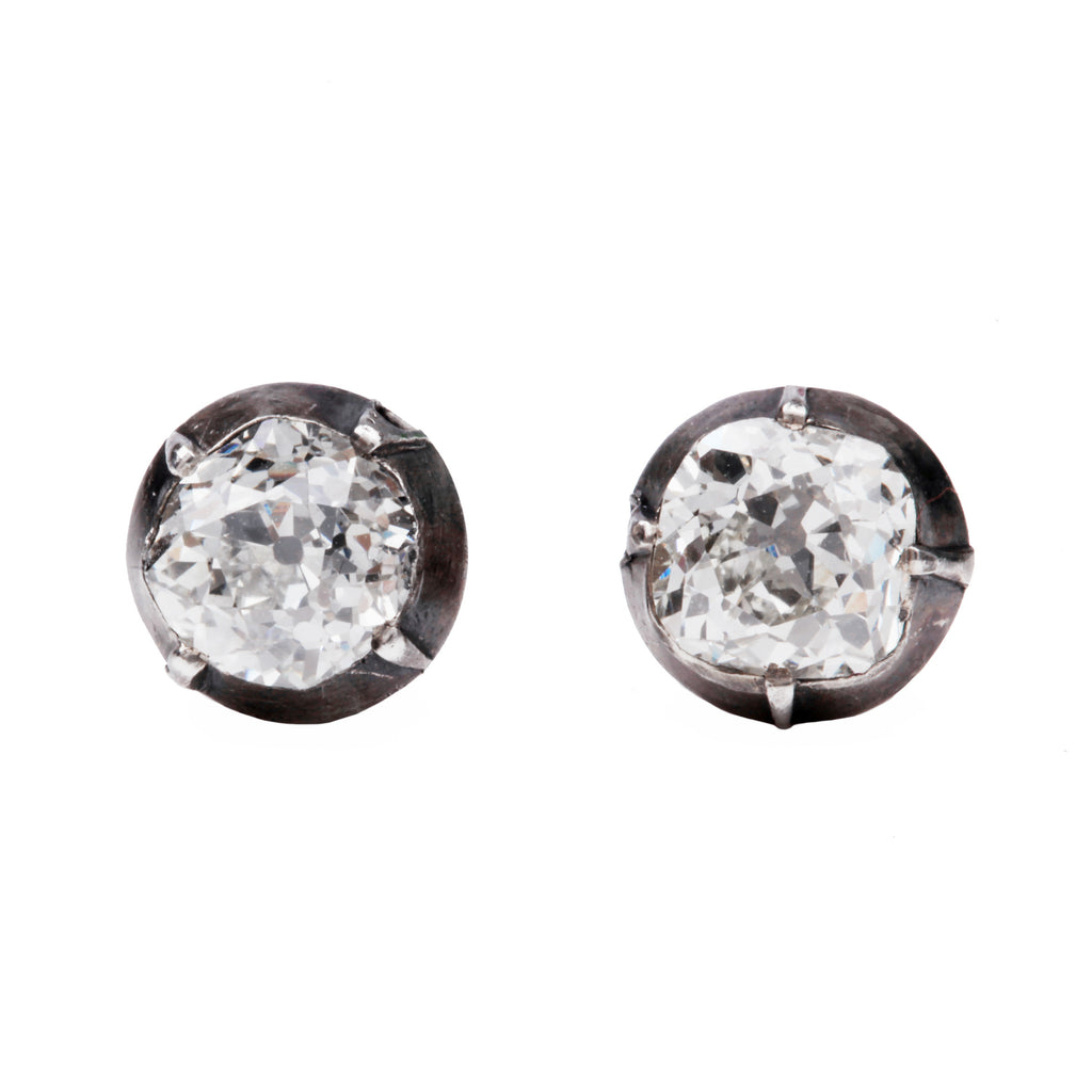 Antique Old Mine Cut Diamond Earrings