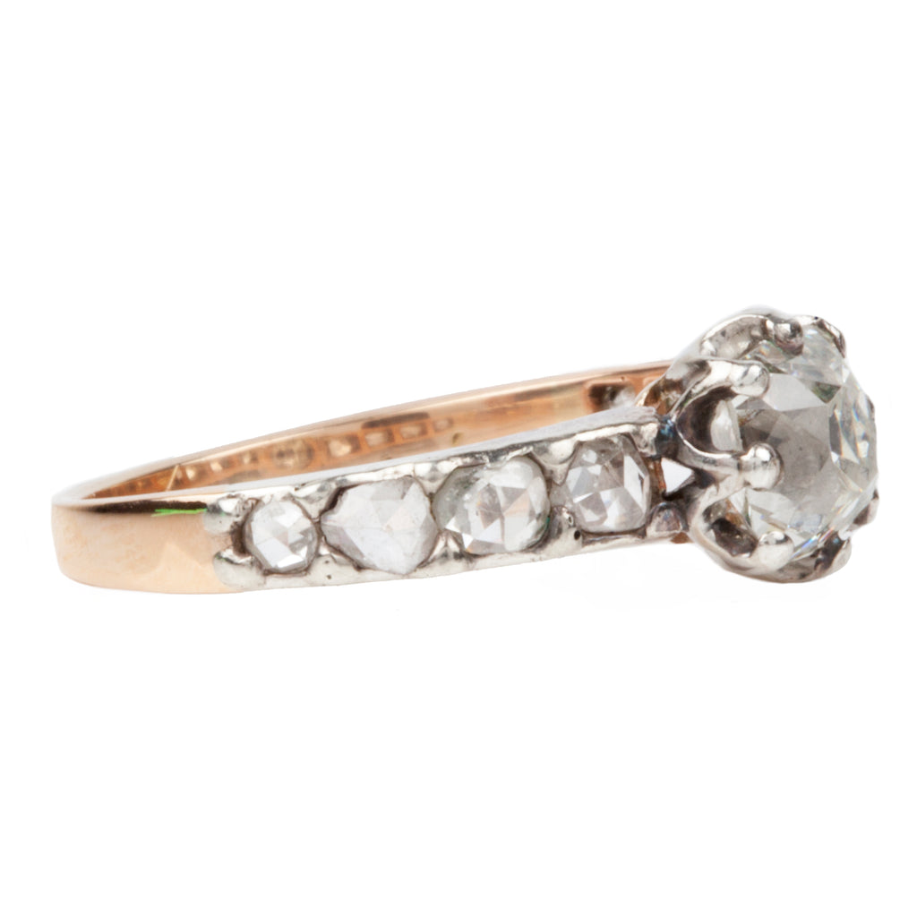 Victorian Era Old Mine Cut and Rose Cut Diamond Ring