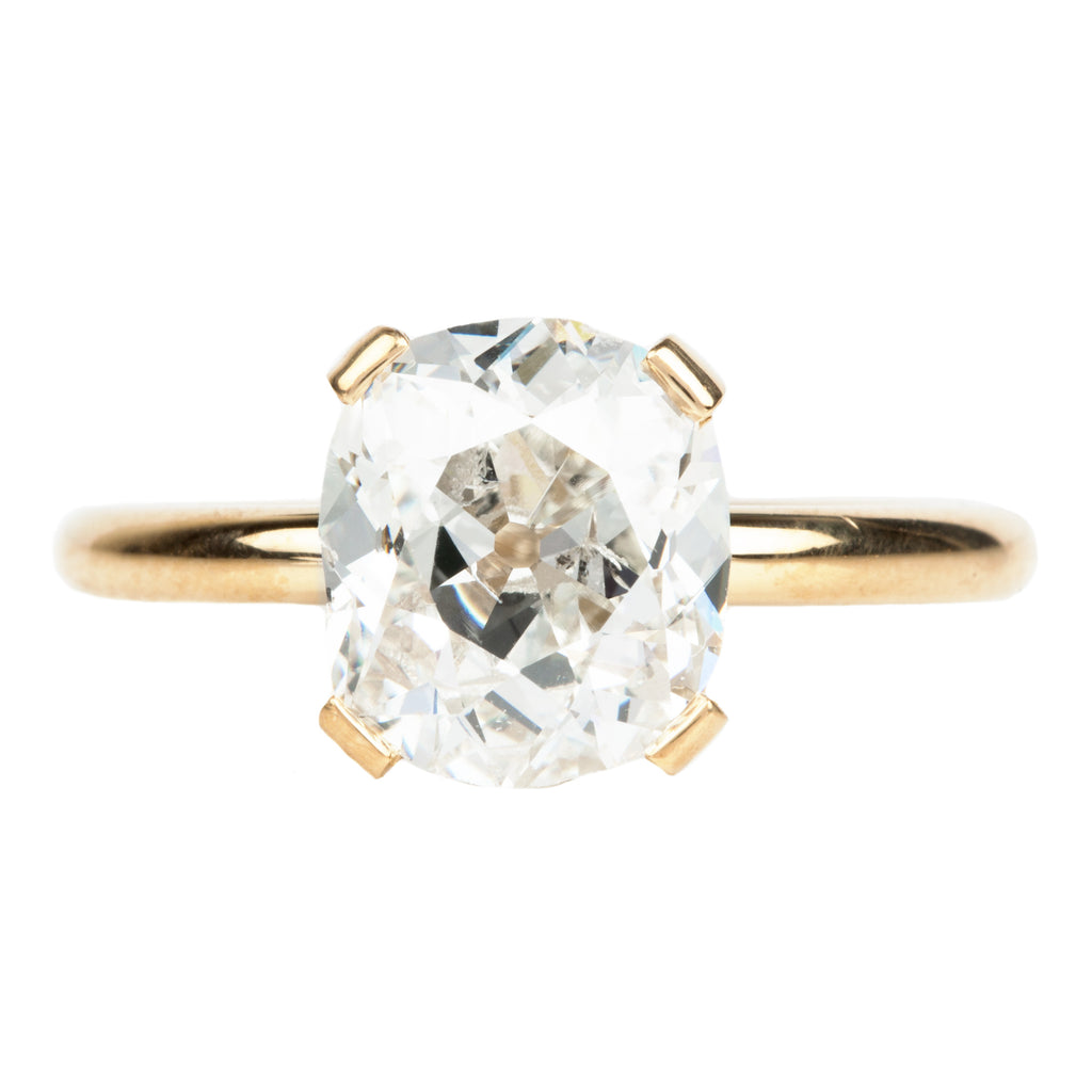 Four Prong Old Mine Cut Diamond Solitaire Ring