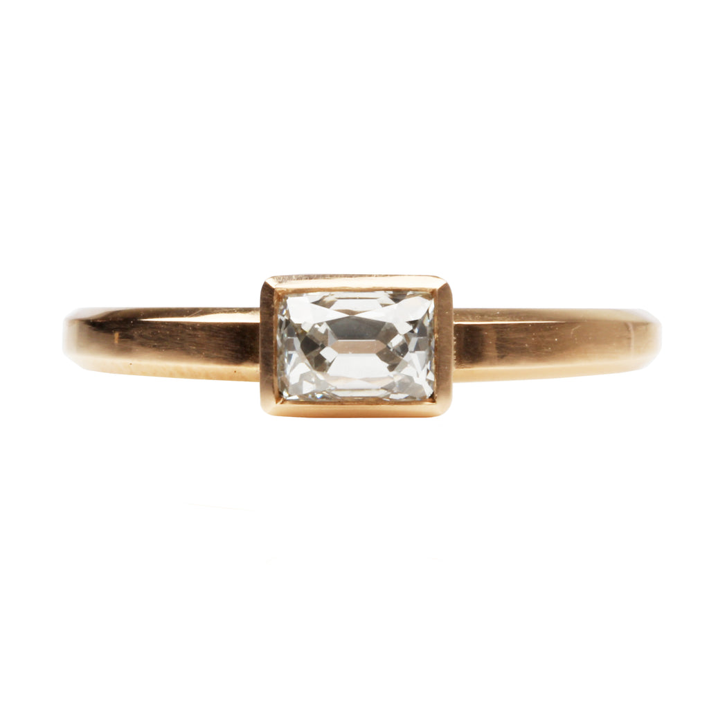 Bezel Set Old Mine Cut Diamond Solitaire Ring