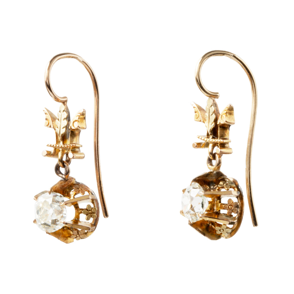 Victorian Era Old Mine Cut Diamond Earrings with Coach Covers